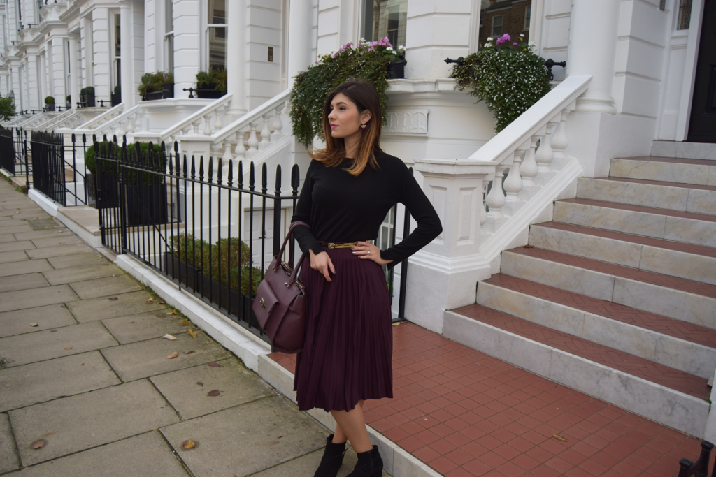 Burgundy Pleated Skirt Outfit