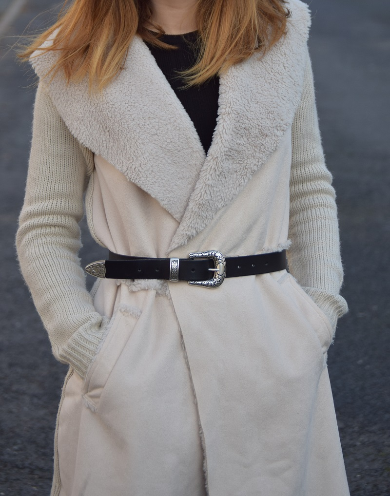 Cardigan and Black Western Belt