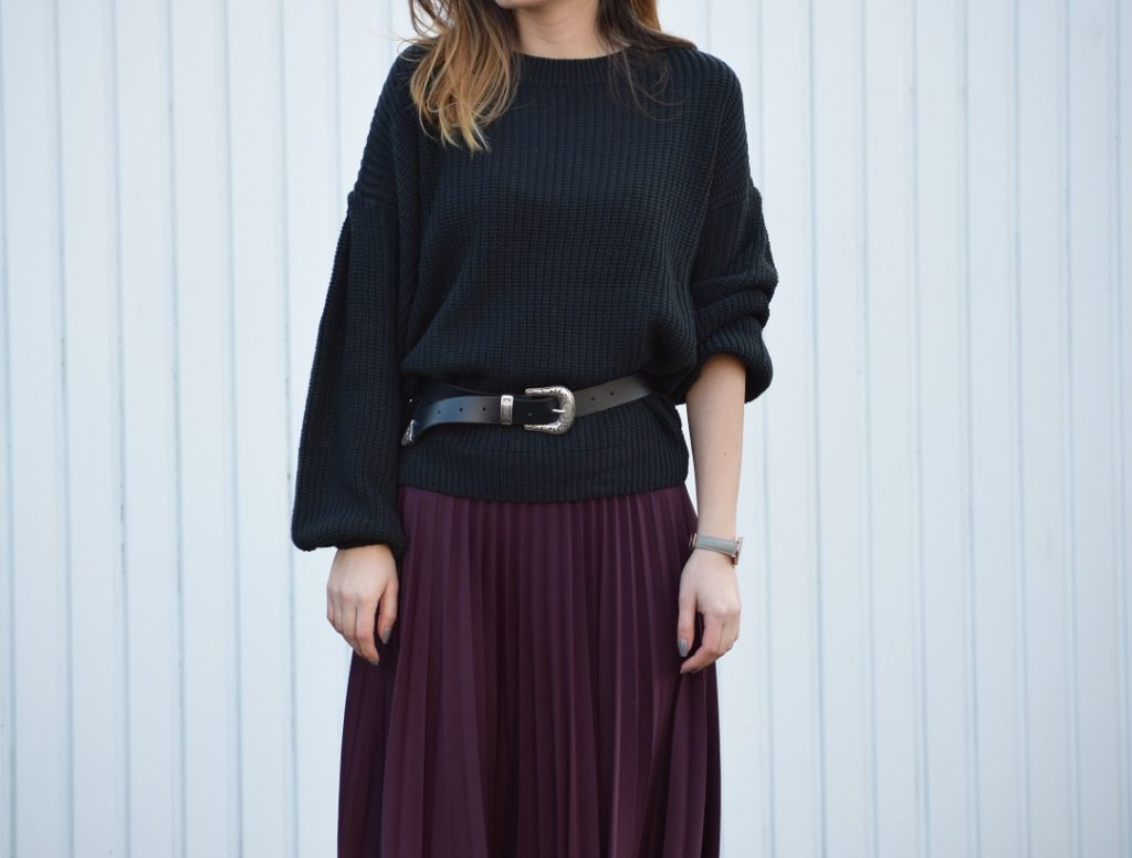 Chunky Knitwear Pleated Skirt