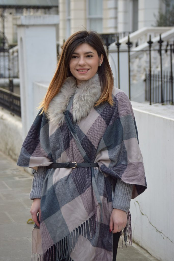 Faux Fur Check Poncho
