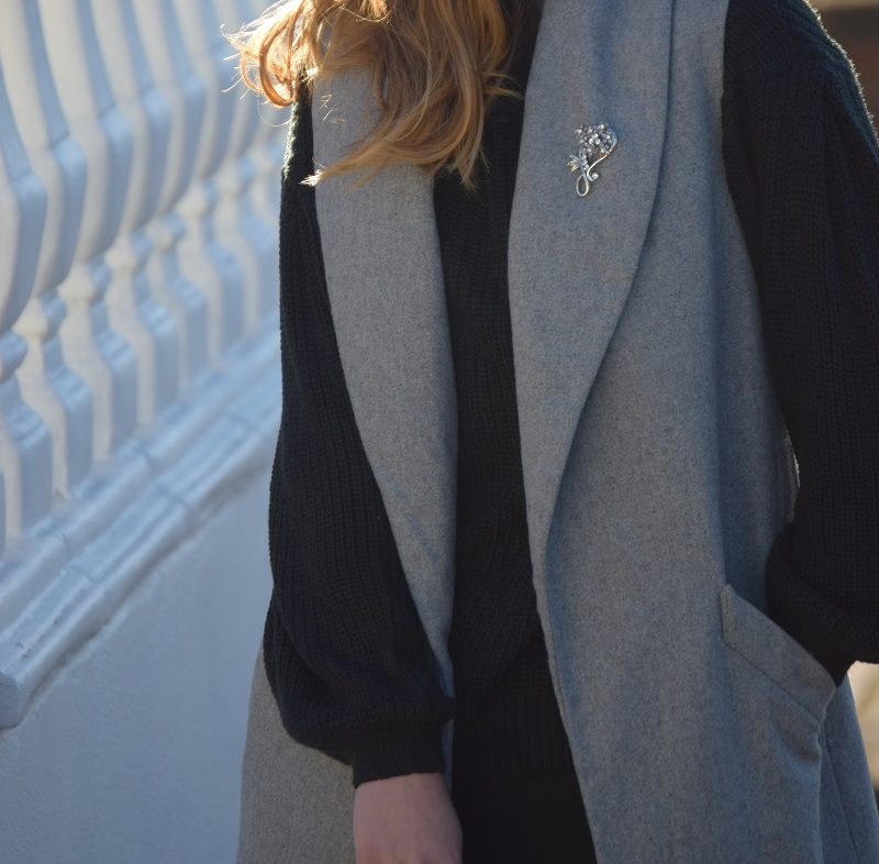 Grey Wool Vest and Oversized Black Jumper