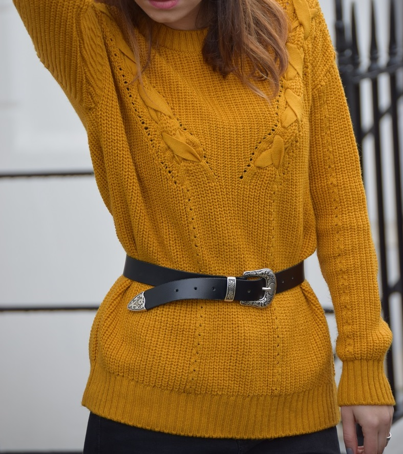 Mustard Jumper Black Belt
