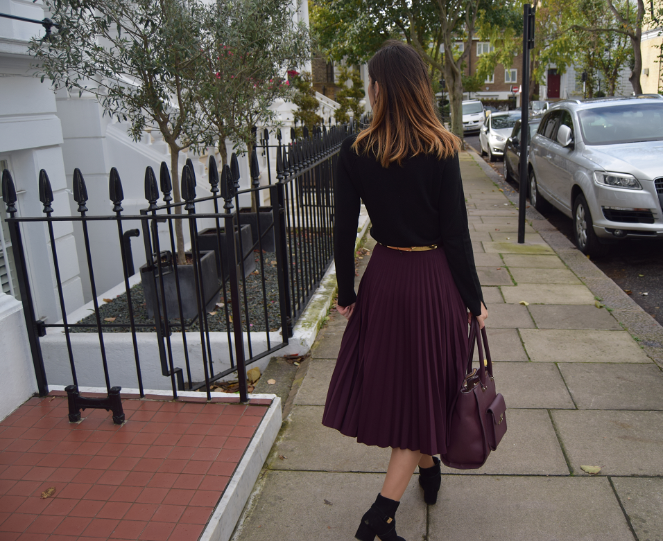 Pleated Skirt Ankle Boots Outfit