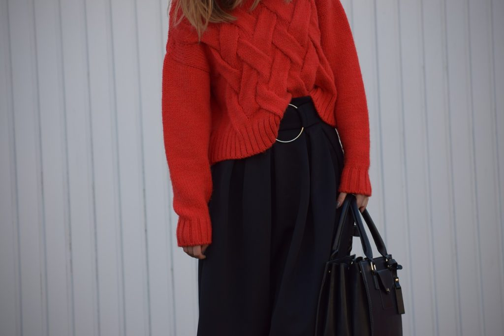 Red Chunky Knit and Skater Skirt Outfit
