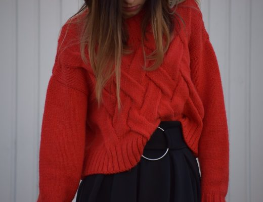 Red Knitwear Black Skirt Outfit