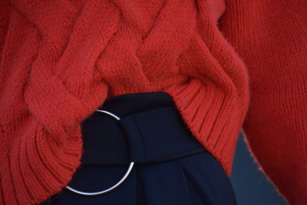 Red Oversized Knit Skater Belted Skirt