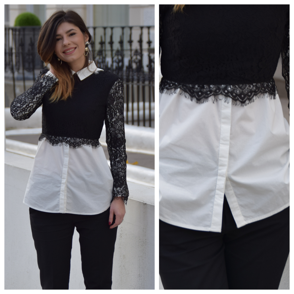 White shirt black lace cropped top outfit