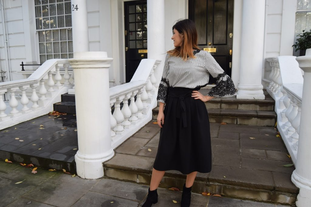 Midi Skirt and Striped Top
