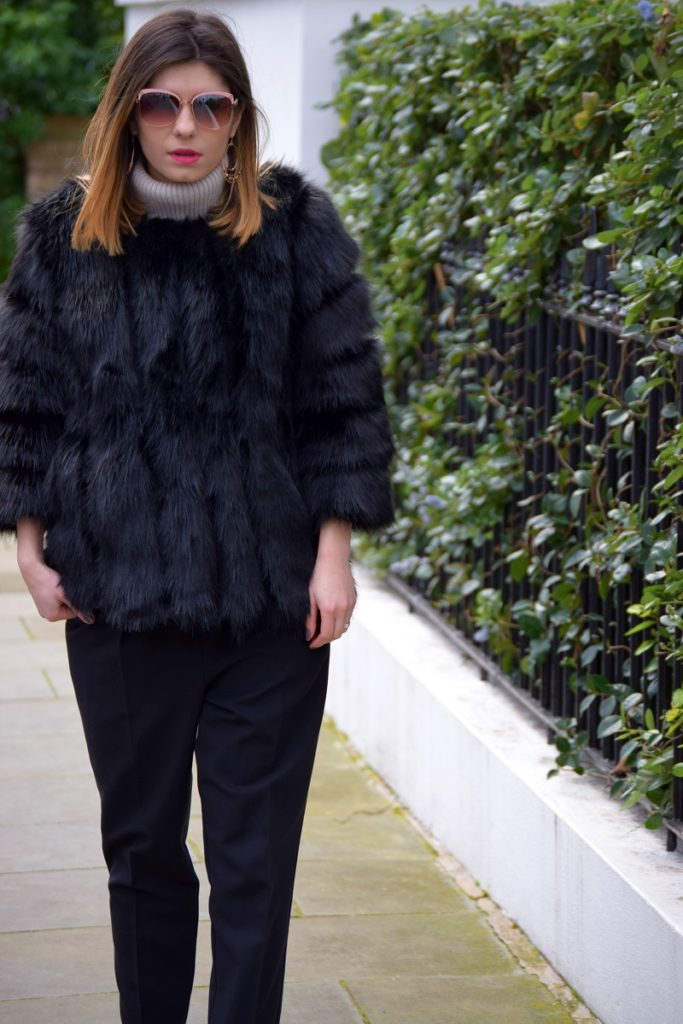 Faux Fur Coat and Sunglasses Outfit London