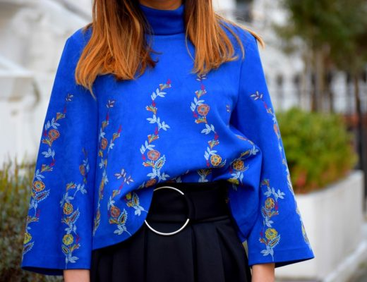 Floral Royal Blue Top
