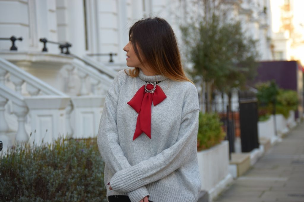 Grey Jumper Red Ribbon