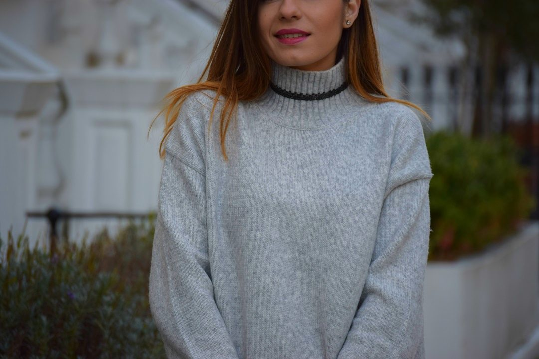 Polo Neck Grey Jumper