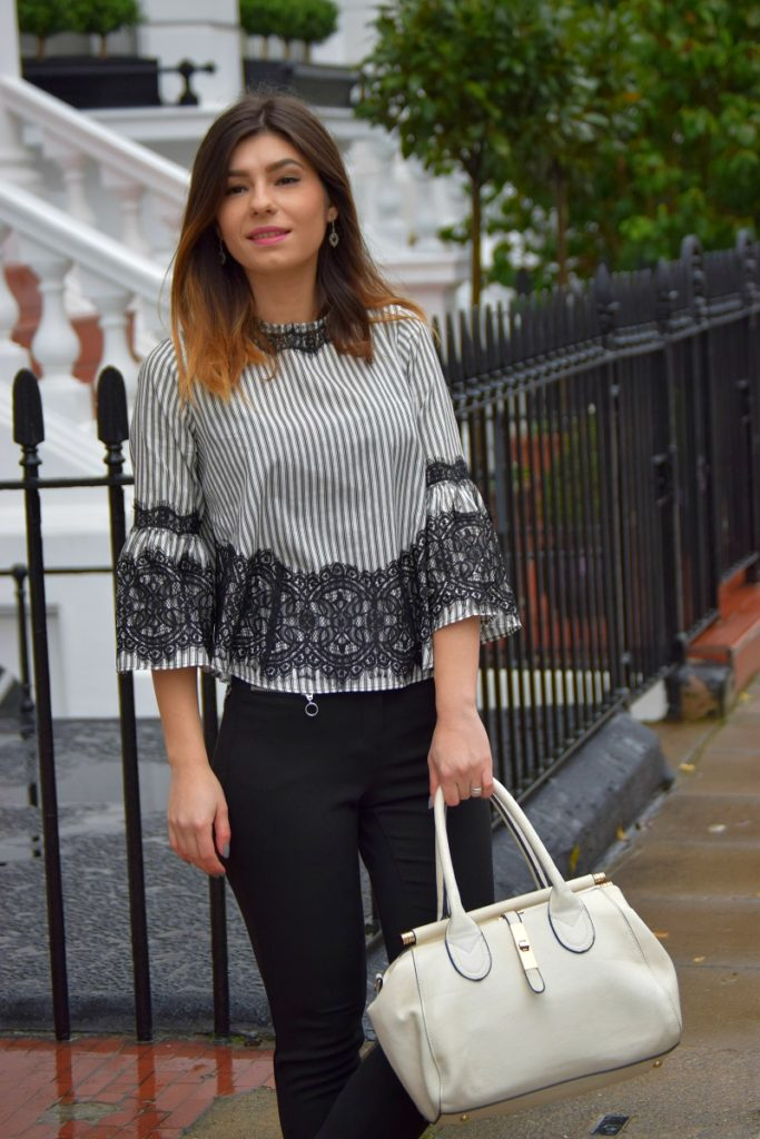 Stripes and Lace Top Zara
