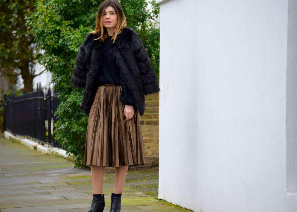 Fur Jacket and PLeated Skirt