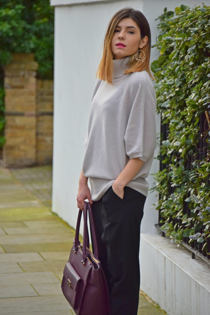 Jumper and Burgundy Bag