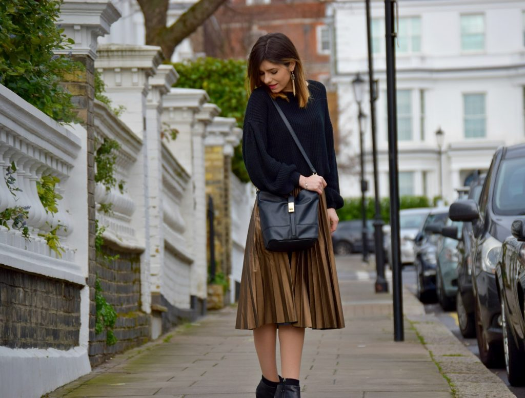Pleated Leather Skirt