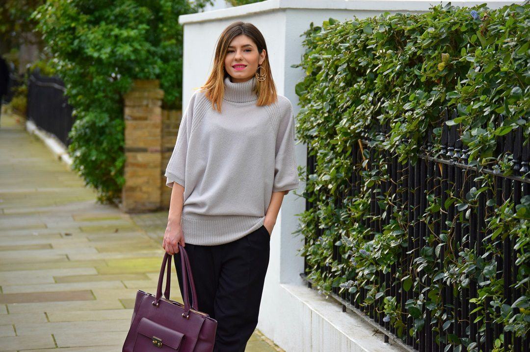 Roll-Neck Batwing Jumper Outfit