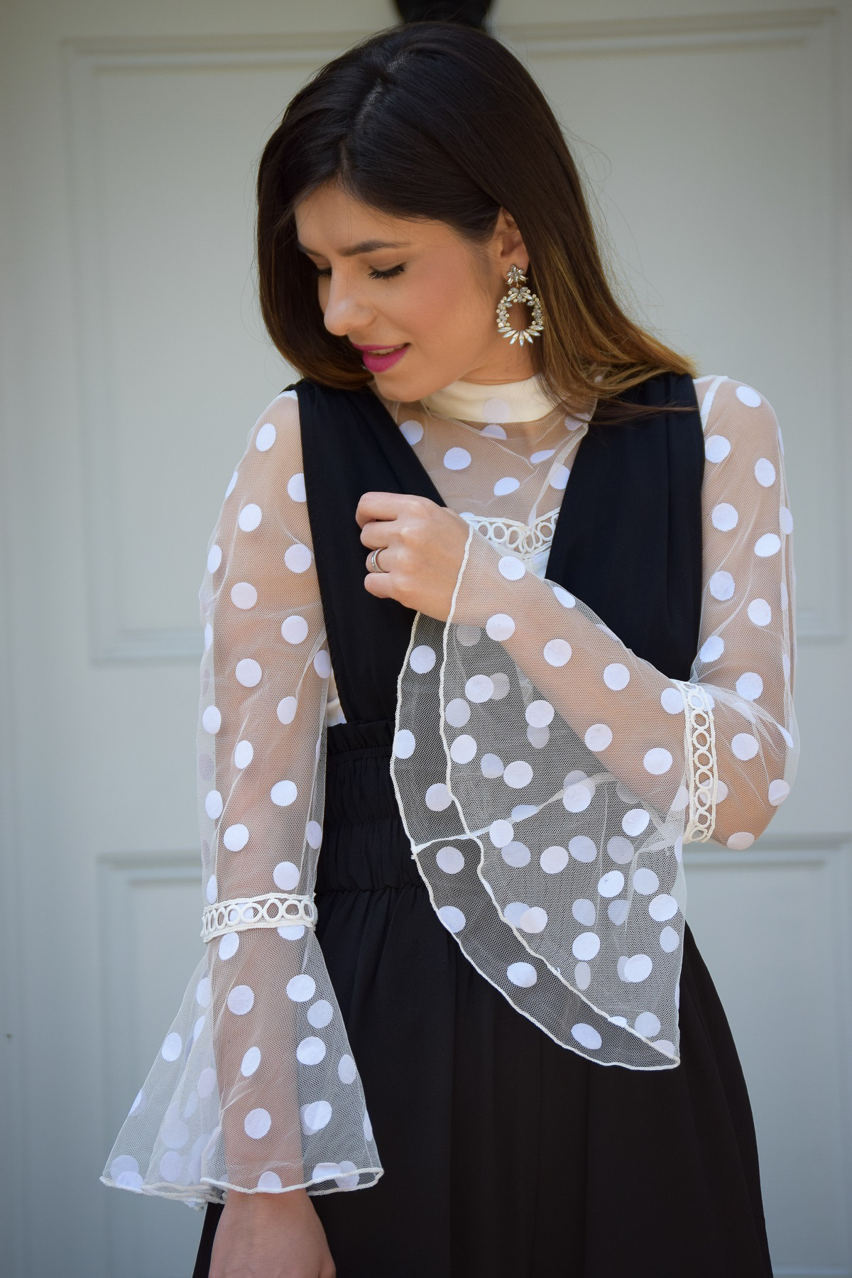 White Polka Dot Frill Top